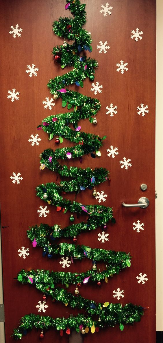 Tinsel Christmas Tree Diy Christmas Door Decorations Holiday Door Decorations Office Christmas Decorations