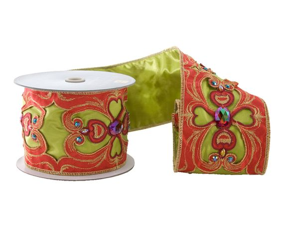 """Katherine's Collection Noel Christmas Collection Two 4"""" x 5 yds Noel Jeweled Cirque Ribbon Rolls Free Ship"""