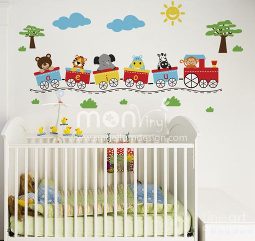Vinilo tren de animalitos vinilos decorativos vinilos for Adhesivos pared infantil