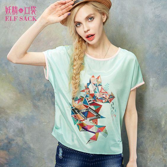 Elf Sack 2016 Fashion Brand New Arrival Young Girl Summer Geo Print Color Block Chiffon Shirt O-neck