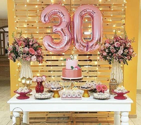 Cumpleaños 30 Años Mujer Decoración De Fiesta Fiestas De Cumpleaños Número 30 Decoracion Cumpleaños Mujer