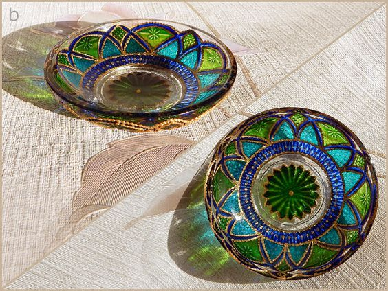 RichanaDragon ||| Fantasy flowers (b). Glass bowl candle holders for night decor in Asian style. Summer plates with green and blue flower-like pattern for balcony serving. Hand painted stained glass. | Coupon code RICHPINTEREST (10% off)