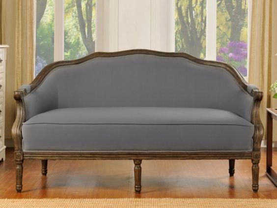 3-Sitzer-Sofa Stoff Barock Isolde - Grau