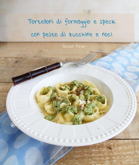 #Tortelloni di #formaggio e #speck con pesto di zucchine e noci