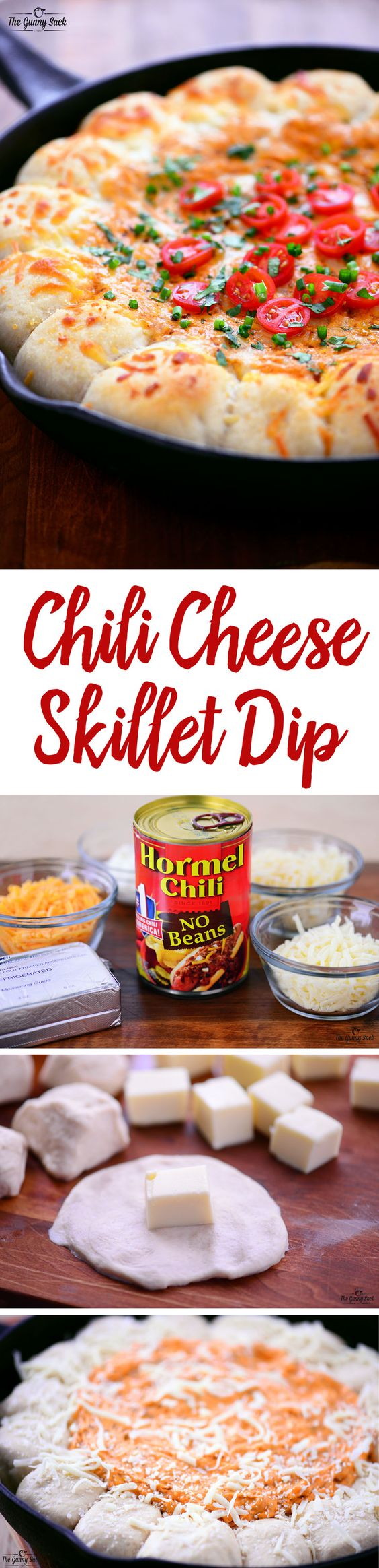 This appetizer recipe for Chili Cheese Skillet Dip with Garlic Cheese ...