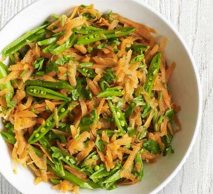 Sugar snaps & carrot salad, hoisin lime dressing. Should b perfect with grilled halibut!