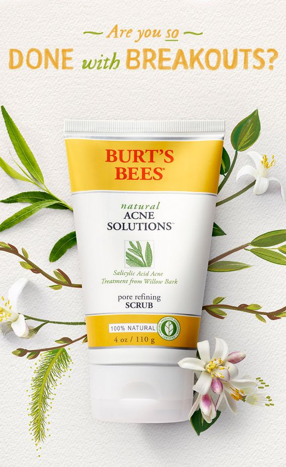 Then be done with breakouts—turn to 100% natural face care that works. Exfoliate dead skin cells, refine pores, and help prevent future breakouts with the deep clean of face cleansers like Burt's Bees acne scrub.