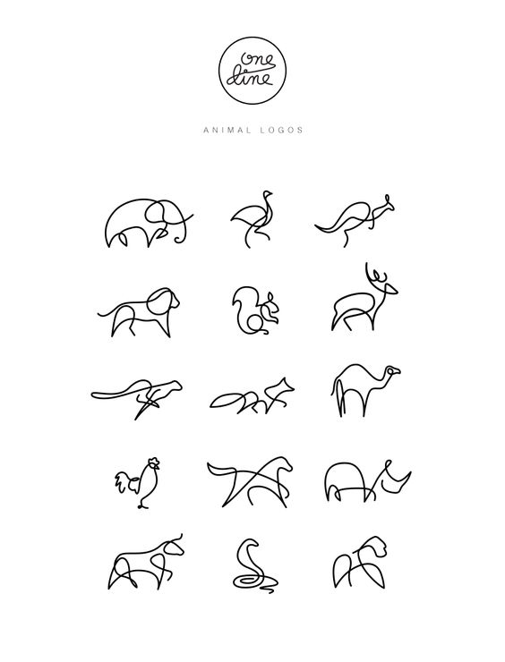 Single Line Drawing Tattoos : One line animal logos on behance tattoos pinterest