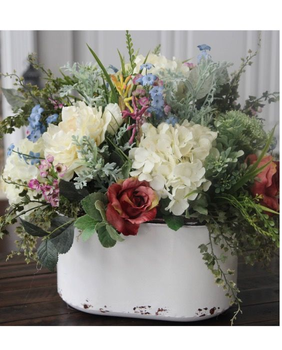 Love The Rustic Pail This Hydrangea Centerpiece Is In The Perfect Farmhouse Arran Spring Floral Arrangements Floral Arrangements Beautiful Flower Arrangements