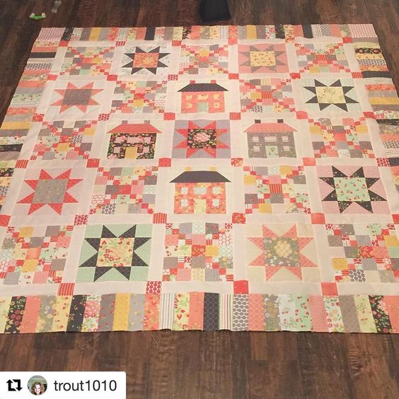 House and star block quilt: