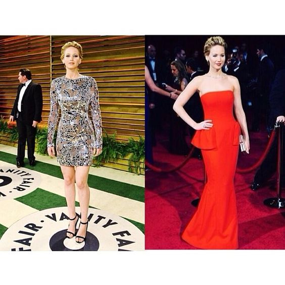 Jennifer yesterday at the red carpet and Vanity Fair Oscar after party
