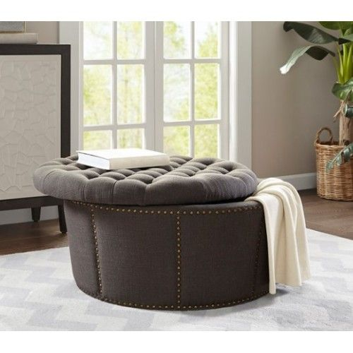 Charcoal Grey Tufted Studded Round Storage Ottoman Footstool Round Storage Ottoman Tufted Storage Ottoman Storage Ottoman