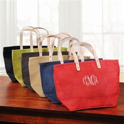 classic jute tote with monogram or name