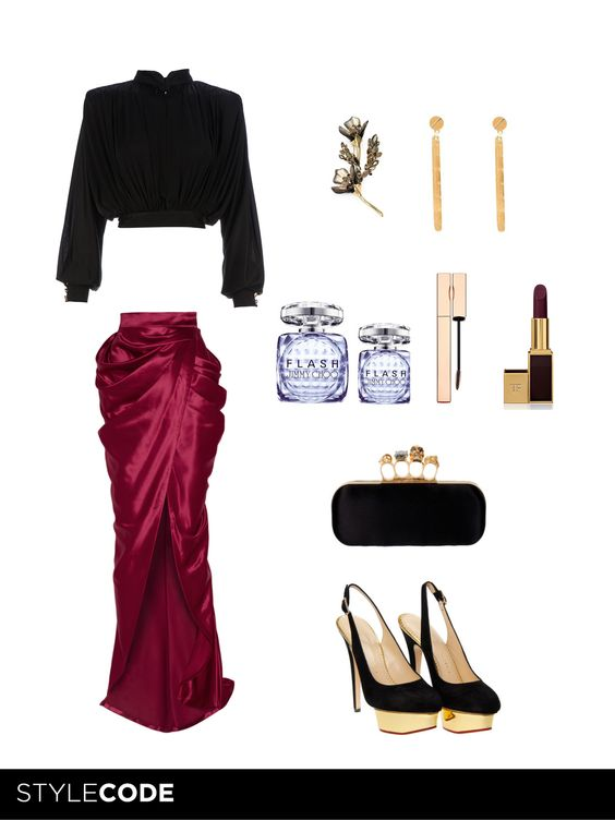 Today StyleCode has prepared for you a Dark & Mysterious very sophisticated look, for a date in the night. Follow the details in our MAG SC TIPS.  #tendencias #style #style_code #fashion #Balmain #Alexander_McQueen #Gaultier #Tom_Ford #Jimmy_Choo #Clarins #Alexis_Bittar #Charlotte_Olympia #asia