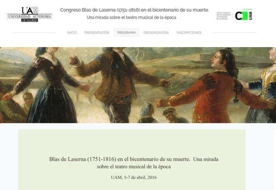 Congreso: Blas de Laserna (1751-1816) en el bicentenario de su muerte. Una mirada sobre el teatro musical de la época
