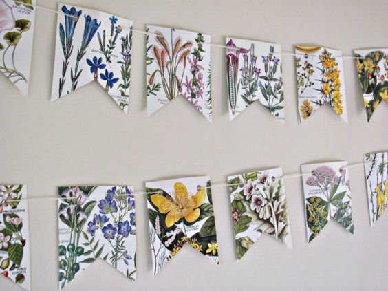 Botanical flower garland ~ British countryside paper bunting ~ Upcycled Eco-friendly gift ~ Wedding decor ~ Tea party flags ~ Wall decor