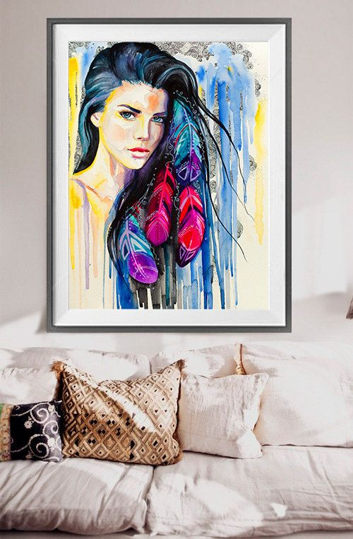 Acuarela colorida plumas de impresión Ilustración de por SlaviART