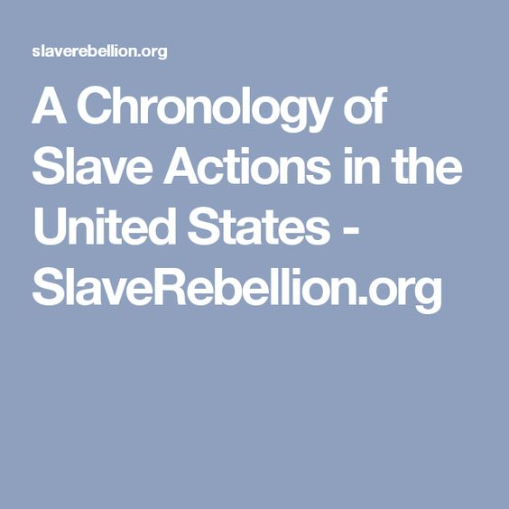 A Chronology of Slave Actions in the United States - SlaveRebellion.org