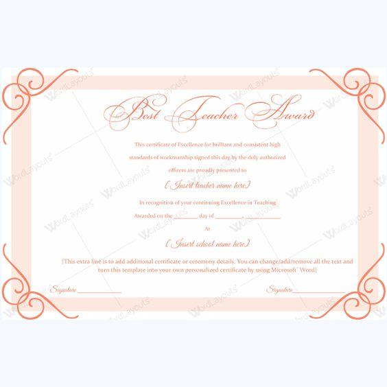 14 best Best Teacher Award Certificate Templates images on - award certificate template microsoft word