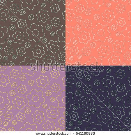Set of four seamless pattern. Pattern of flowers of different sizes