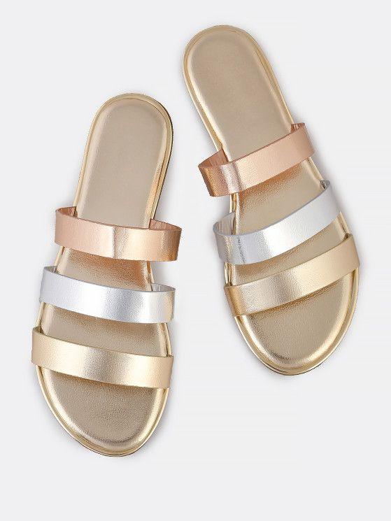 Strap Slip On Sandals GOLD