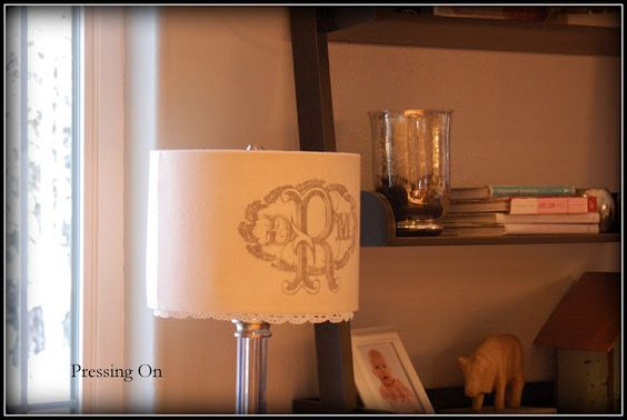 DIY burlap and lace lampshade
