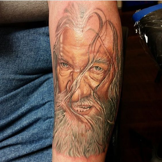 The start of an amazing Gandalf tattoo by the VERY talented, @sarahmillertattoo
