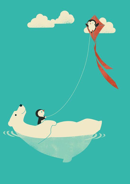 Poster - Eisbär und Wolken in Türkis. Perfekt für das Kinderzimmer!