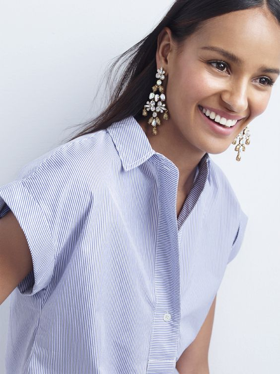 J.Crew Looks We Love: women's short-sleeve popover shirt in stripe and mixed crystal chandelier earrings.: