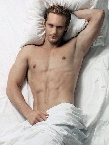 Alexander Skarsgard GOODNESS bed is looking inviting starting to go on 3 AM now. Soon the COCK will crow.... Literally!!