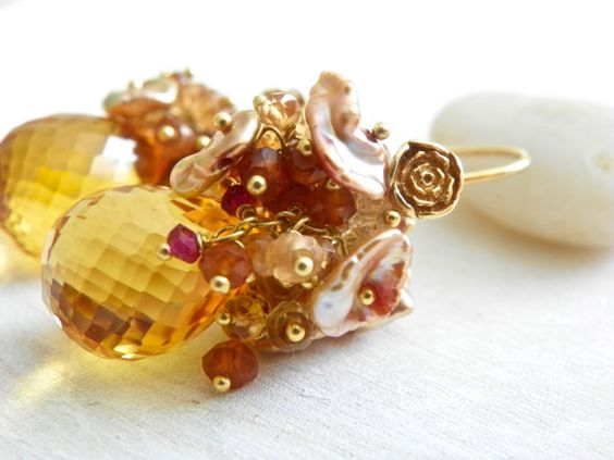 Cluster Earrings with Citrine and 14k Gold by TheNorthWayStudio, $150.00