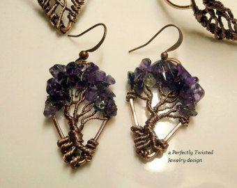 Cuentas pendientes hechos por encargo, árbol de la vida de alambre con cuentas pendientes, joyas de alambre hechas a mano personalizadas, joyas perfectamente trenzado