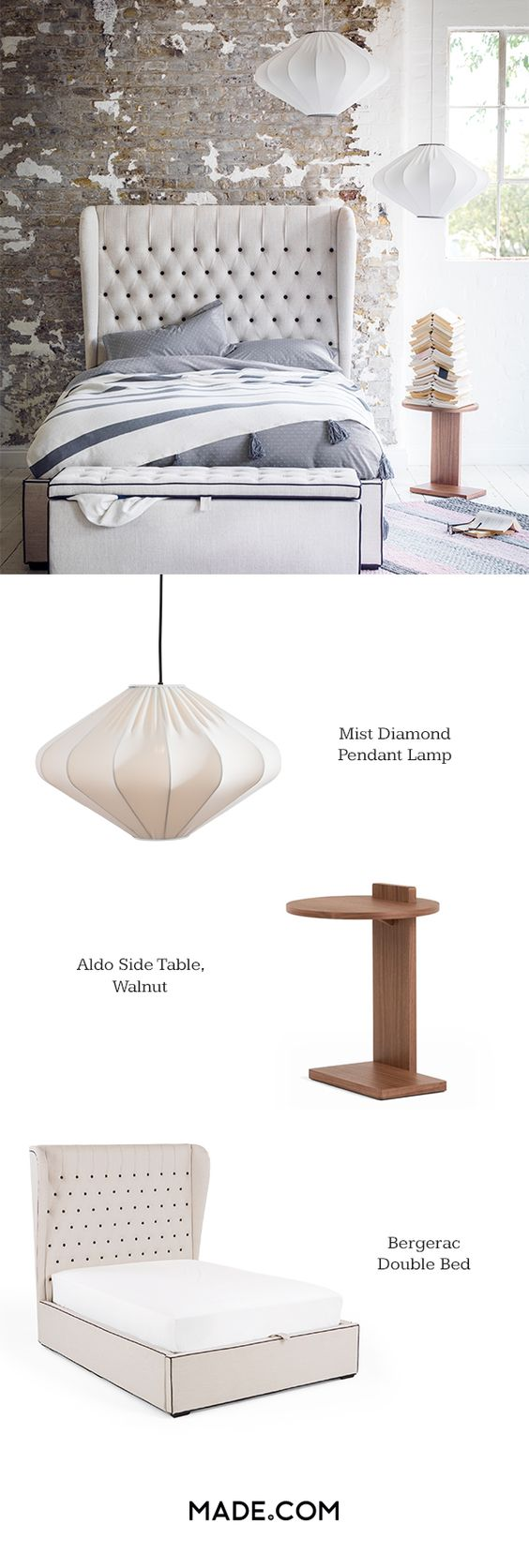 The diamond shape of the Mist pendant lamp is all part of its charm. The wire frame is moulded into an ellipse with thick, woven cotton stretched taught over it. With a bold, winged headboard and traditional buttoning the Bergerac double bed is a high-impact piece for the bedroom. In a sophisticated stone with contrast piping. Complete the look with the Aldo side table with a single walnut leg. The round table top and rectangular base are in different positions, but balance each other…