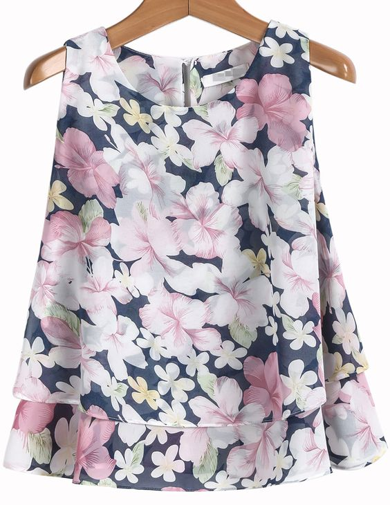 Pink Sleeveless Floral Loose Chiffon Blouse - Sheinside.com