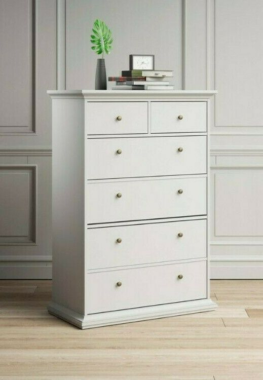 Buy White Tall Chest Of Drawers Tallboy 6 Drawer Cabinet Dresser Bedroom Storage Tallboy Dresser Tallboy Dresser White Dresser Decor