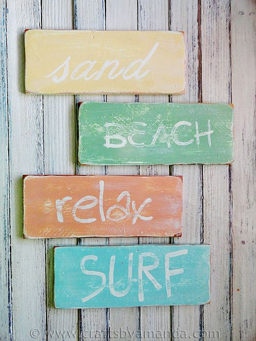 Weathered Beach Signs. I want to make these. What can I say I'm a Florida girl through and through ;)