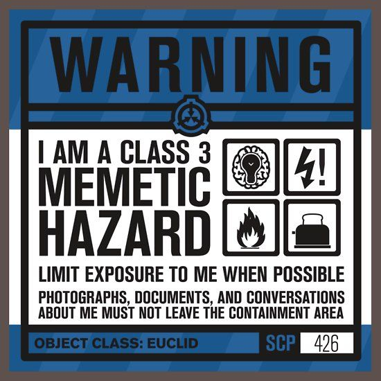 Scp 426 Warning Sign Sticker By Narshero Scp Peace Quotes Sticker Sign