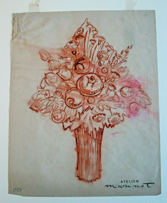 Design Sketch of Bouquet of Flowers in the Rakow Library | Corning Museum of Glass