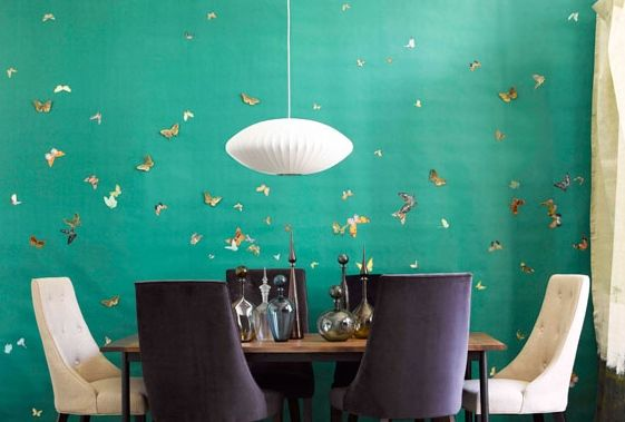 Such a great feature wall; teal with gold butterflies. Thinking of this colour in our hall, but the butterflies would be incredible x