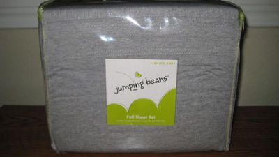 JUMPING BEANS TWIN SHEET SET GRAY T-SHIRT KNIT, NEW!!!