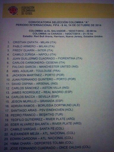 """""""@FCFSeleccionCol: Estos son los convocados de #FCFMayores para los juegos ante El Salvador y Canadá: http://t.co/nr5JnCKKyn"""""""