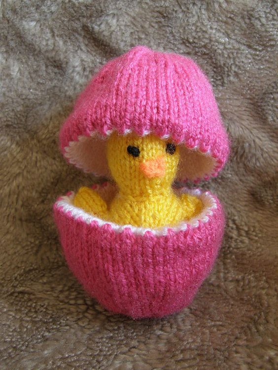Knitting Easter Chicks : Knit easter egg with chick adorable pinterest