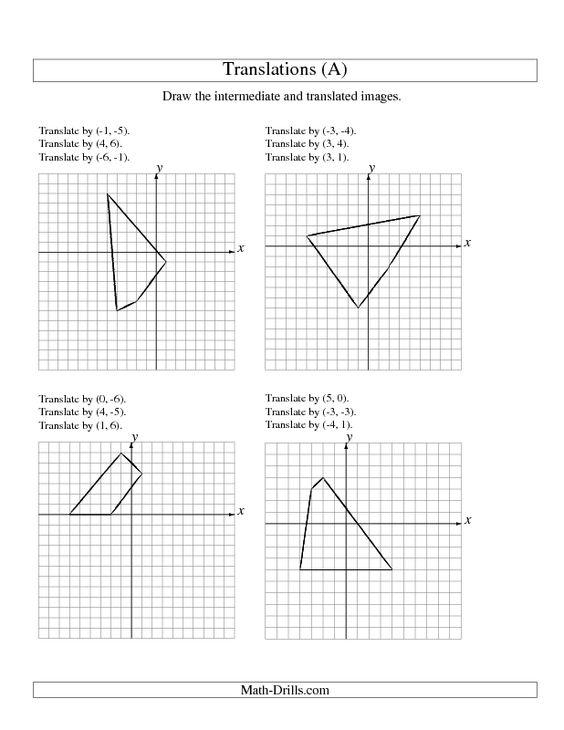 Geometry Worksheet ThreeStep Translation of 4 Vertices up to 6 – Translation Maths Worksheet