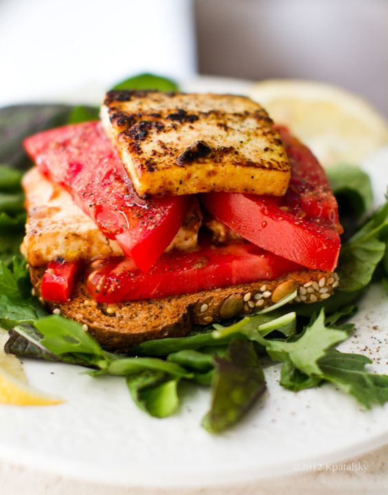 """Tomato Tofu """"Feta"""" Open-Faced Sandwich - Healthy. Happy. Life. #vegan inspired by Bon Appetit's Cook the Cover Challenge."""