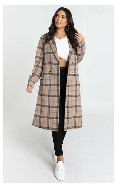 Korean Winter Outfits, Brown Check Winter Coat