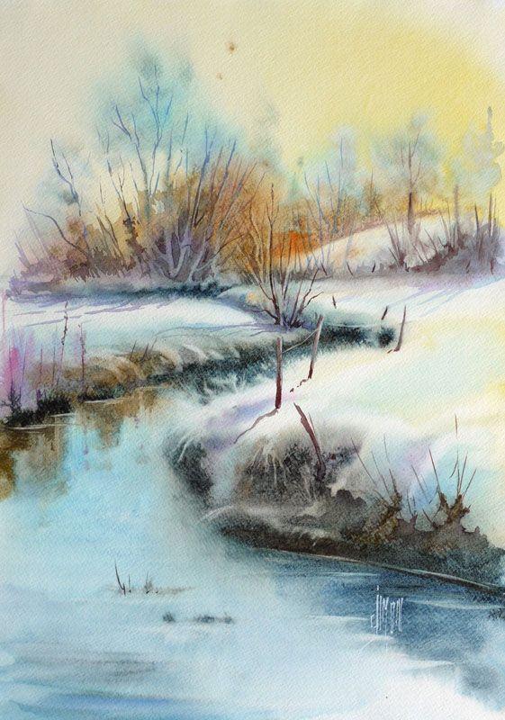 Sur La Riviere Halouze Joel Simon Peinture Paysage D Hiver Peinture Paysage Dessin Paysage