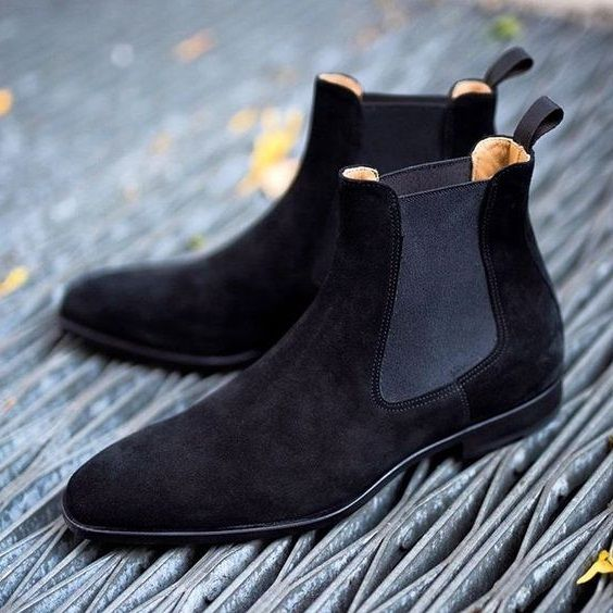 Handmade Custom Mens Black Chelsea Suede Boots, Men Suede