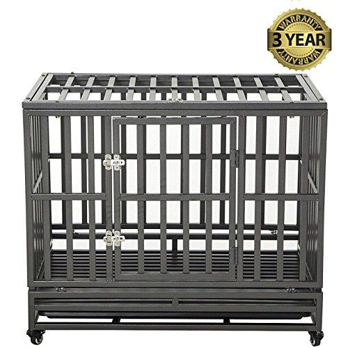 Luckup 38 Inch Heavy Duty Dog Cage Strong Metal Kennel And Crate For Large Dogseasy To Assemble Pet Playpen With Four Wheelsblack Dog Cages Pet Playpens Crates