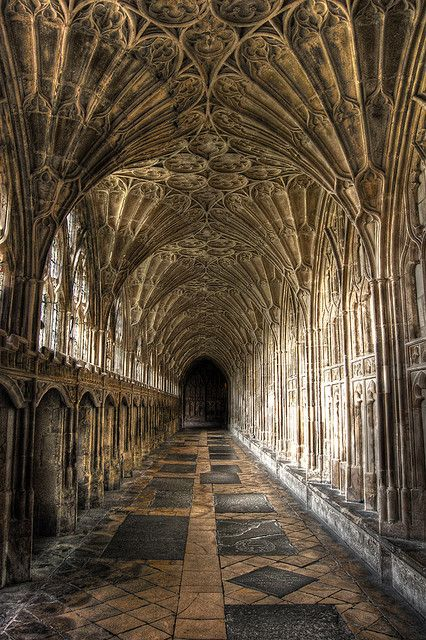 Interior with fan vaulting, Gloucester Cathedral, England.