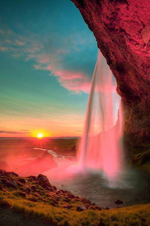 ♂ Waterfall Sunset, Iceland: